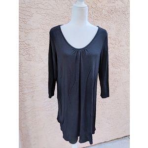 Eileen Fisher | wool 3/4 sleeve black dress